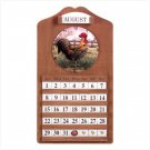 WOOD ROOSTER CLOCK/CALENDER