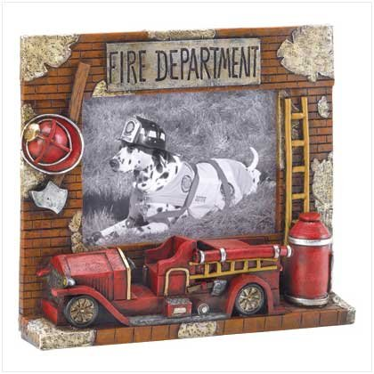 FIREMAN PHOTO FRAME-POLYRESIN