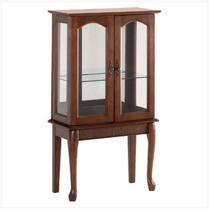 WOOD GLASS DOOR CURIO CABINET
