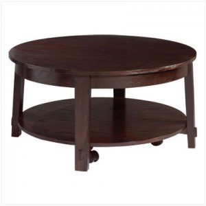 WOOD ROUND COFFEE TABLE - 38""