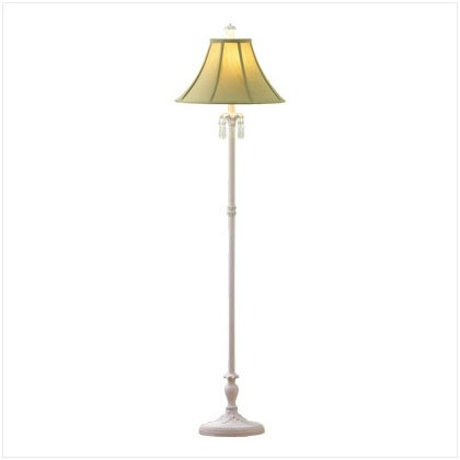 GREEN SHADE WHITE FLOOR LAMP