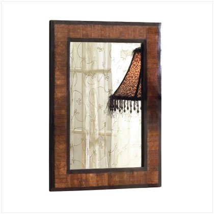 BONE INLAY WOOD WALL MIRROR