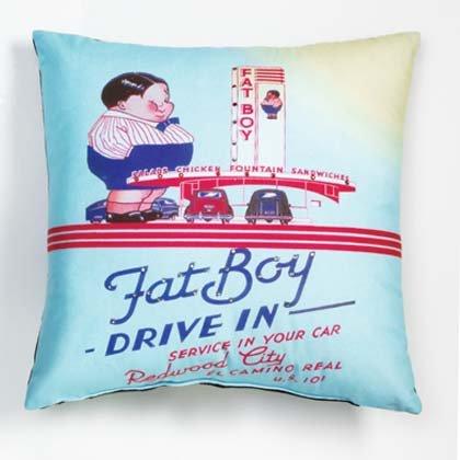 FAT BOY DRIVE IN ART PILLOW