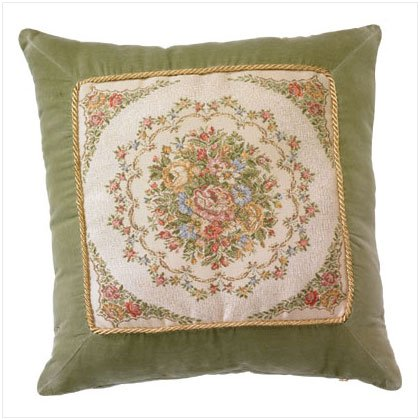 GREEN FLORAL CUSHION/FILLER