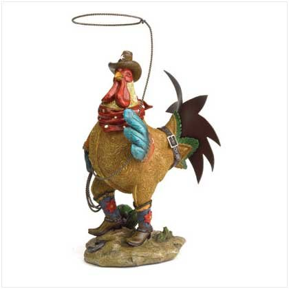 COWBOY ROOSTER W/LASSO-RESIN