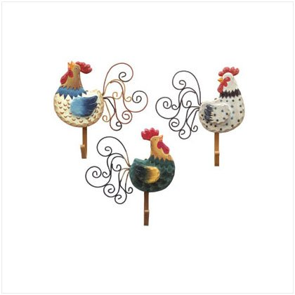 3 PC ROOSTER WALL HOOK PLAQUES
