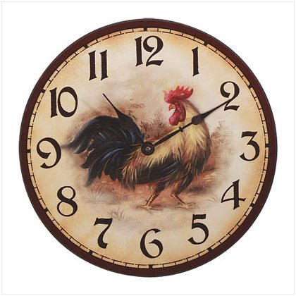 WOOD ROOSTER WALL CLOCK-2