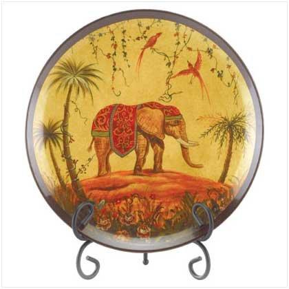 PORCELAIN ELEPHANT PLATE W/STAND