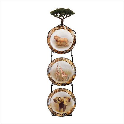 4PC ANIMALS PLATES/RACK SET