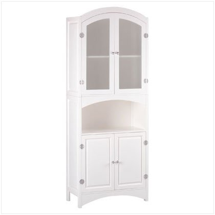 WOOD LINEN CABINET W/DRAWERS