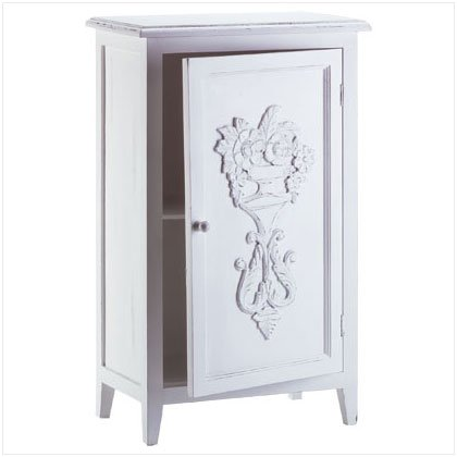 DISTRESS WHITE SHELF CABINET
