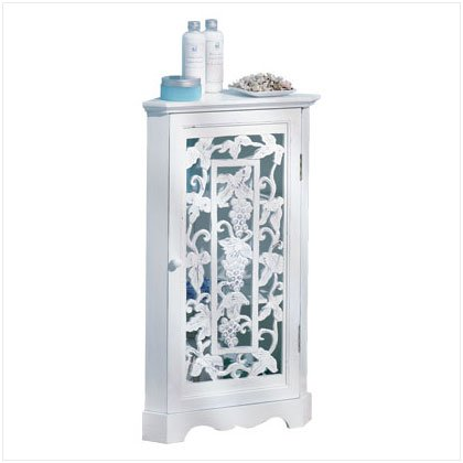 DISTRESS WHITE GRAPE CORNER CABINET