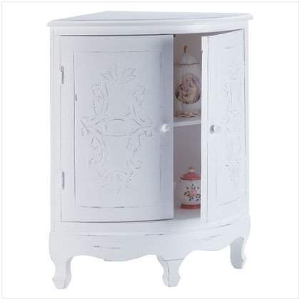 DISTRESS WHITE WOOD CORNER CABINET