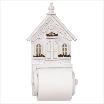 DISTRESS WHITE HOUSE TISSUE HOLDER