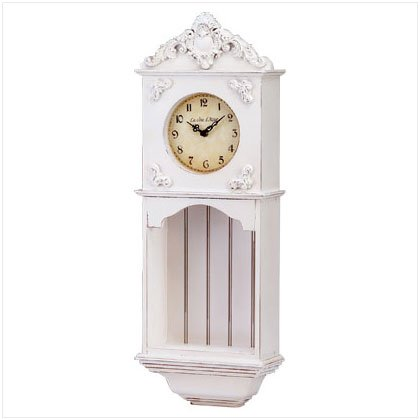 WOOD ANTIQUE WALL CLOCK/SHELF