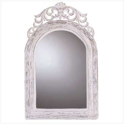 DISTRESS WHITE WOOD MIRROR