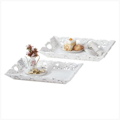 DISTRESS WHITE WOOD 2PC TRAY SET