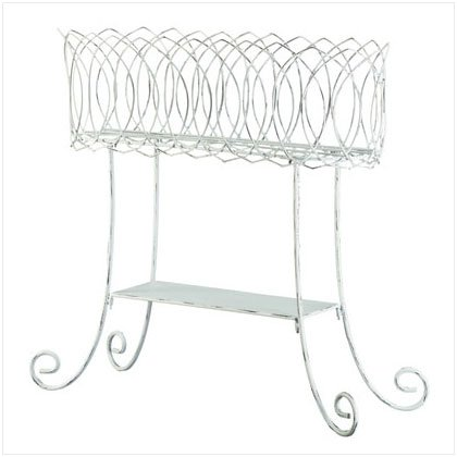 DISTRESS WHITE METAL PLANT STAND