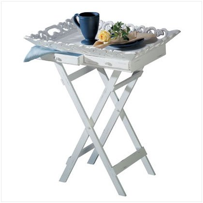 DISTRESS WHITE TRAY/FOLDING STAND