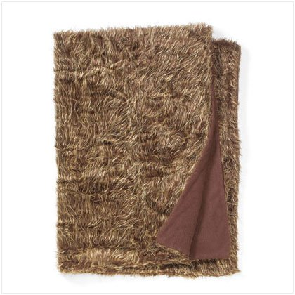 BROWN TWIN SZ FAUX FUR BLANKET
