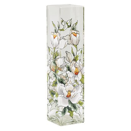 PAINTED MAGNOLIA GLASS VASE