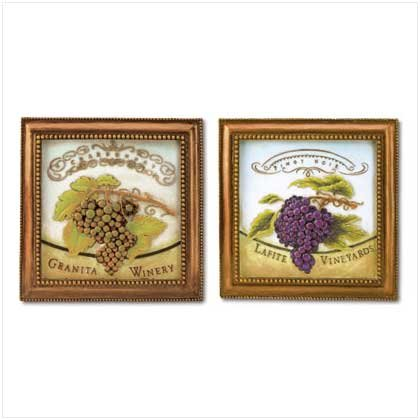 SET OF 2 GRAPES WALL PLAQUES