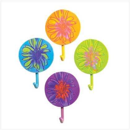 ABSTRACT FLOWER HOOKS SET OF 4