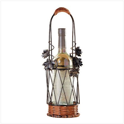 METAL/RATTAN WINE BOTTLE BASKET