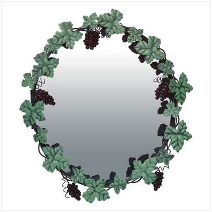 GRAPES/LEAVES METAL MIRROR