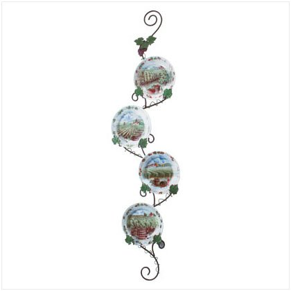 5PC GRAPES/WINE PLATES/RACK