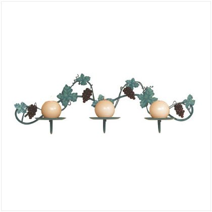 METAL GRAPES WALL CANDLEHOLDER