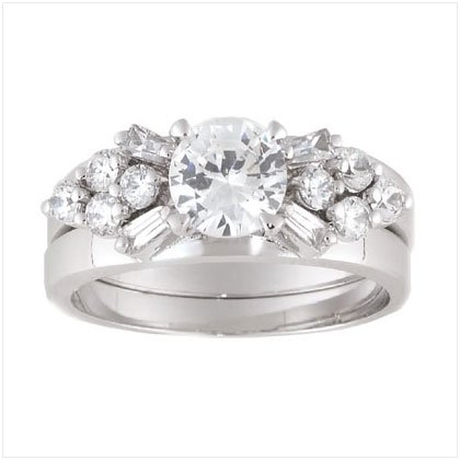 SILVER CUBIC ZIRCONIA RING SET