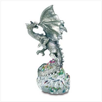 PEWTER DRAGON ON GLASS BASE