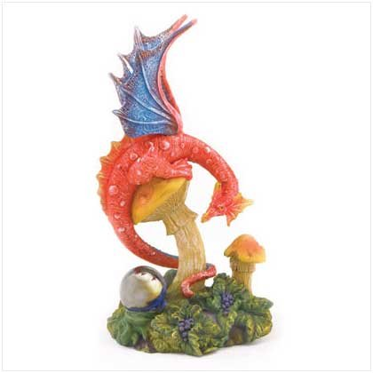 RED DRAGON FIGURINE -POLYRESIN