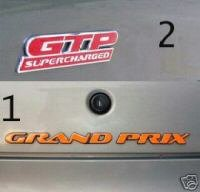 Pontiac Grand Prix GTP side badge & trunk overlays