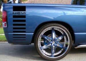 Dodge HEMI gradient bedside bed side decals