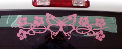 Butterfly flower Hibiscus car or truck windshield decal decals sticker