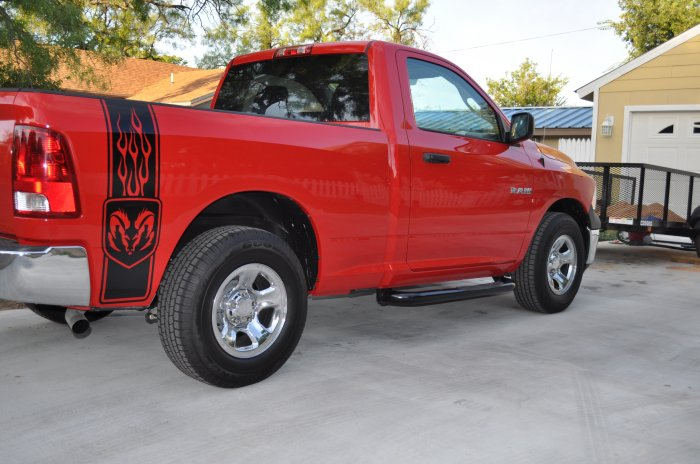Dodge Flaming ram head bedside bed side decals