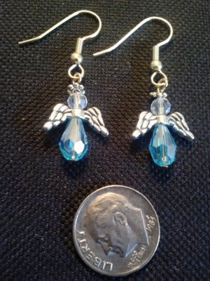 handcrafted blue glass bead angel earrings with pewter wings and halo