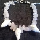 "handcrafted 7.5"" seashell and pink quartz chip bracelet"