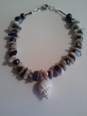 "handcrafted 8"" sioux mix stone chip and hematite bead bracelet with seashell"