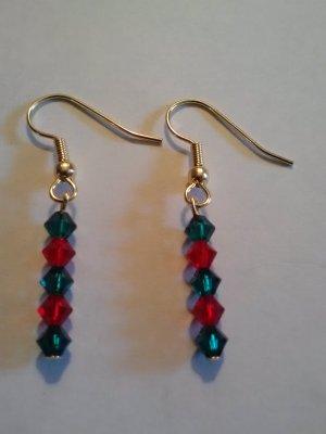 pair of swarovski element christmas earrings on gold plated hooks