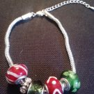 "7.5"" christmas color themed glass bead charm bracelet"