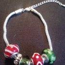 "7.5"" christmas color themed glass bead charm bracelet"