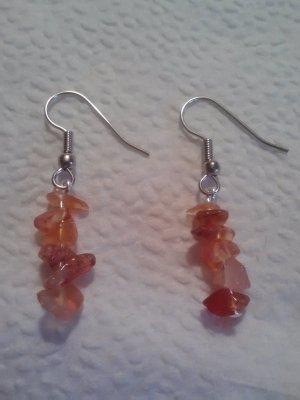 handcrafted Carnelian stone chip earrings