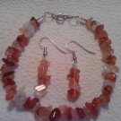 "Handcrafted Carnelian stone chip earring and 8"" bracelet set."