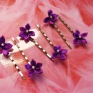 purple flower bobby pins