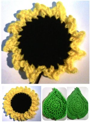 Sunflowers & Leaves Coasters & Hot Pads Crochet Patterns PDF File #2324