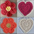 Crochet Pattern e PDF File for Flower & Heart Coasters & Hot Pads #2320
