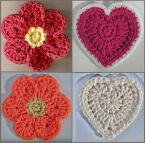 Crochet Pattern e PDF File for Flower & Heart Coasters & Hot Pads #2320